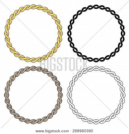 Metal Chain Links, Sharp Clean Vector Illustration, Linked In A Perfect Circle, In Black Fill, Black