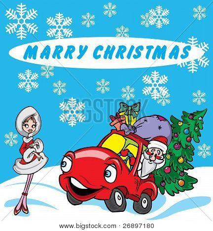 Christmasgreetingswith Santaand sexygirl