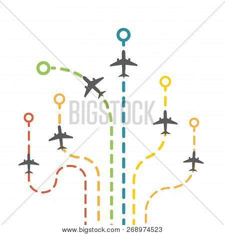 Vector Dotted Route Of Flight Set With Air Planes. Collection Of Colorful Plane Traces. Airplanes Tr