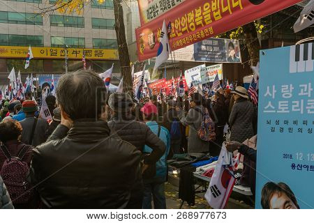 Seoul, South Korea; November 10, 2018: Unidentified Group Of Koreans Gather For Rally Against The Mo