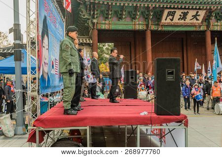 Seoul, South Korea; November 10, 2018: Unidentified Speakers On Stage At Rally Against The Moon Jae-