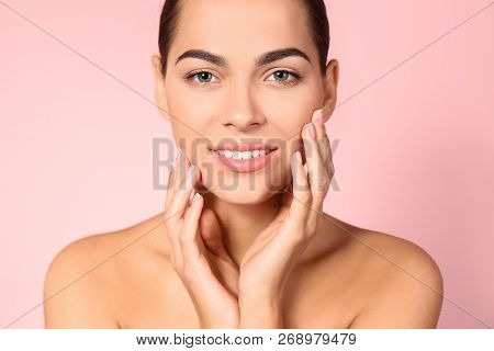 Portrait Of Beautiful Young Woman On Color Background. Lips Contouring, Skin Care And Cosmetic Surge