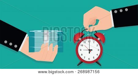 Hand Holding Exchanging Time With Money, Time Is Money Concept, Annual Revenue,financial Investment,
