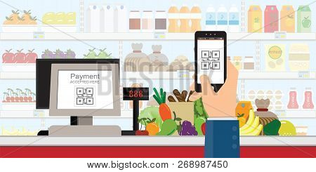 Hand Holding Smartphone To Scan Qr Code Payment In Supermarket, Retail Shop Accepted Digital Pay Wit