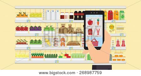 Hand Holding Smartphone With Shopping App,grocery Delivery Internet Order, Online Supermarket Concep