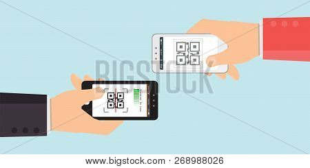 Two Hand Holding Mobile Phone To Scanning Qr Code,electronic Scan Digital Technology Flat Design Vec