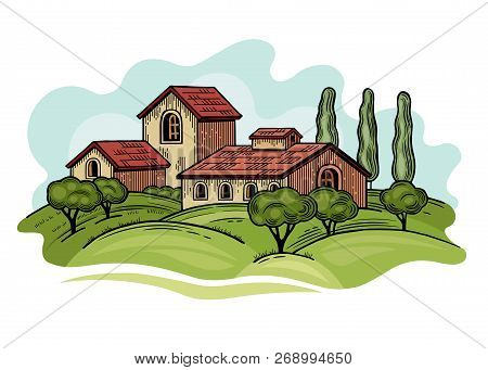 Rural Landscape With Villa Or Farmhouse, Field, Trees And Cypress Trees. Vector Illustration. Isolat
