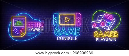 Big Set Neon Billboard Retro Games. Gamer. Game Console Logo, Label And Emblem. Neon Sign, Isolated
