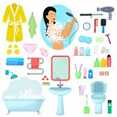 Hygiene personal care vector beautiful woman showering hygienic bath products in bathroom illustration set of bodycare toiletries soap shampoo shower gel icons isolated on white background poster
