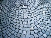 close up shot of a cobblestone alley in winter time poster