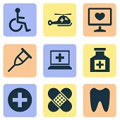 Antibiotic icons set with tooth, helicopter, computer and other painkiller elements. Isolated  illustration antibiotic icons. poster
