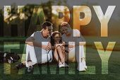 People Have Rest after Golfing. Golf Clubs on a Turf. Child and Parents with Mobile Phone. Mum, Dad and Kid Enjoy the Family Time. Concept of Togetherness. Fairway in Sunset Time. Summer Weekend. poster