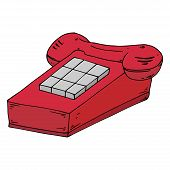 Stationary push-button phone. Vector illustration retro phone. Hand drawn retro push-button phone. poster