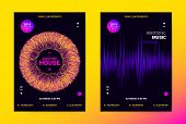 Techno Music Poster. Wave Flyer for Dance Event Promotion. Banner for Techno Sound Performance. Electronic Equalizer Concept and Amplitude of Distorted Lines. Announcement of Techno Music Night Party. poster