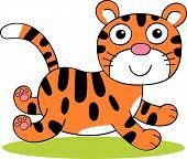 Vector illustration of cute cartoon tiger running along poster