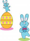 Two vector cartoon easter bunnies one dancing on an easter egg one holding an easter egg poster