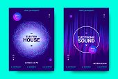 Electronic Music Movement Concept. Wave Poster for Dance Night Party. Sound Amplitude of Distorted Wave Lines. Vector Equalizer Movement Design. 3d Graphic Round with Glow and Movement of Dots Effect. poster