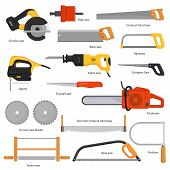 Saw vector sawing equipment hand-saw hacksaw chainsaw and pullsaw sawdust carpentry metal tool with sharp blade for construction fretsaw bow-saw jigsaw illustration set isolated on white background poster