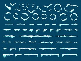 Big Set Of Snow Icicles And Snow Cap Isolated. Cartoon Snowy Elements Over Winter Background. Design