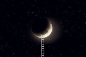 3d Illustration Of Night Sky With Moon And Step Ladder. Elements Of This Image Furnished By Nasa