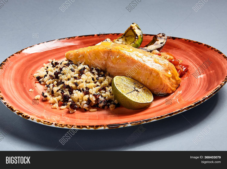 Salmon Piece Rice Lime Image Photo Free Trial Bigstock