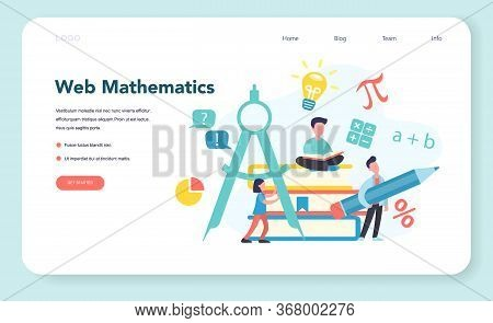 Online Math Course Web Banner Or Landing Page. Learning