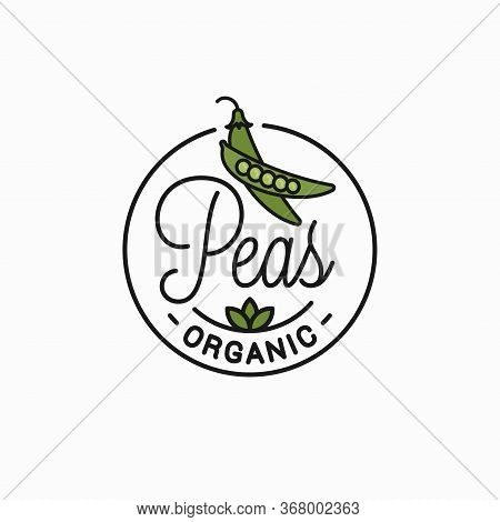Peas Vegetable Logo. Round Linear Of Green Pea