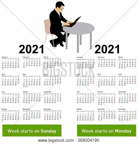 Stylish Calendar With Silhouette Man Sitting Behind Computer For 2021