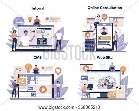 Content Management Concept Set. Idea Of Digital Strategy And Content