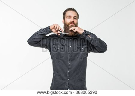 Barber Scissors, Barber Shop. Brutal Man, Moustache Male In Barbershop, Haircut, Shaving. Mans Hairc