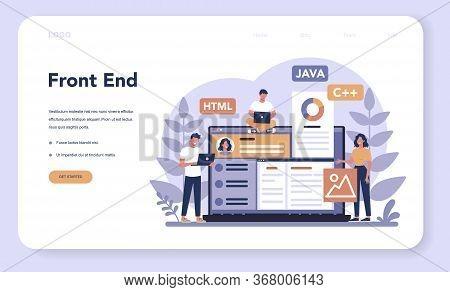 Frontend Development Web Banner Or Landing Page. Website
