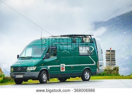 Geiranger, Norway - July 29, 2018: Mercedes-benz Sprinter Van Camping On Roadside Over Geiranger Fjo