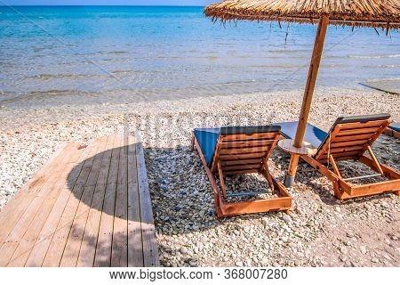 Deck Chair On Beach In Greece. Zakynthos Island