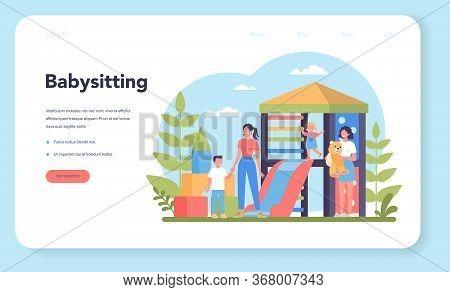 Babysitter Service Or Nanny Agency Web Banner Or Landing Page