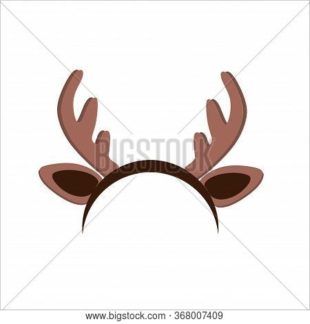Christmas Deer Antlers And Ears On A Hoop, On A White Background In A Flat Style.