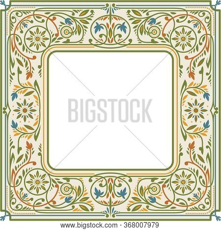 Victorian Floral Square Frame. Empty Space In The Centre. Book Cover Template