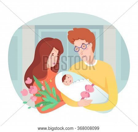 Young Happy Mother And Father Holding Newborn Baby On Hands. Maternity, Parenting And Childbirth. Pa