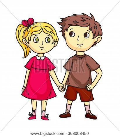 Cute Happy Children Holding Hand-in-hand Flat Cartoon. Smiling Preschool Girl And Boy Standing Toget
