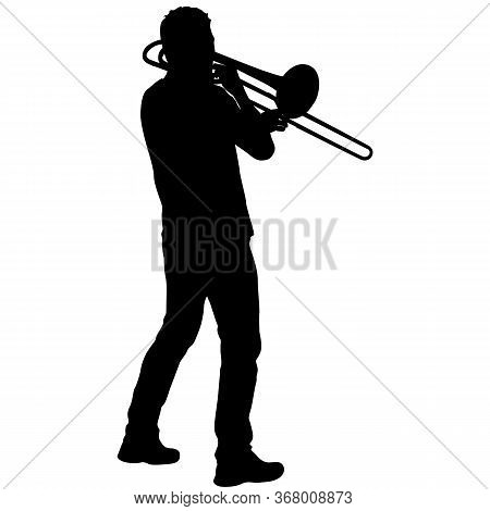 Silhouette Of Musician Playing The Trombone On A White Background
