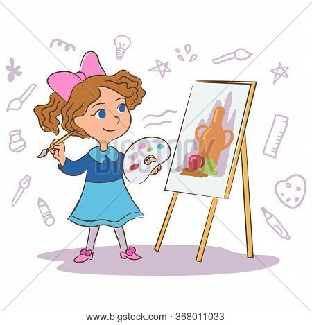 Child Painting Cartoon Vector Illustration. Little Painter Hand Drawn Character Isolated On White Ba