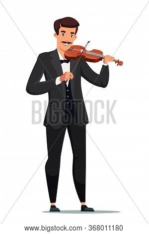 Man Playing Violin Flat Vector Illustration. Male Musician With String Instrument Cartoon Character