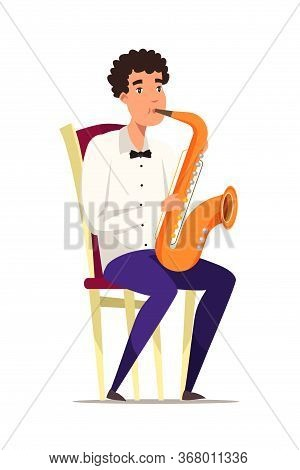 Saxophonist On Chair Flat Vector Illustration. Classical Music Performer Cartoon Character. Musician