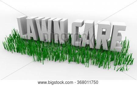 Lawn Care Service Grass Words 3d Illustration