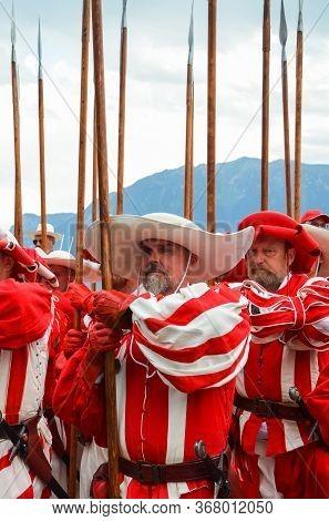 Vevey, Switzerland - Aug 1 2019: Traditional Parade On Swiss National Day. National Holiday Of Switz