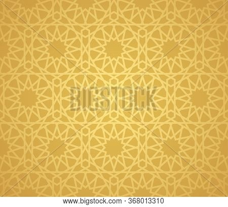 Symmetrical Abstract Vector Background In Arabian Style Made Of Gold Geometric Line. Islamic Traditi