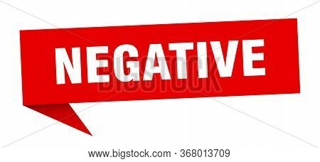 Negative Speech Bubble. Negative Ribbon Sign. Negative Banner
