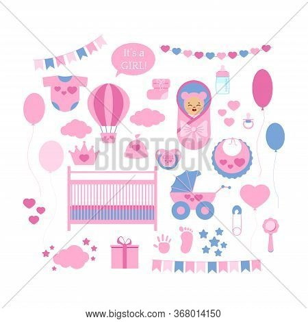 Baby Shower Girl Icon Vector Set Isolated On White Background. Newborn Sign Balloon, Rattle, Pram, C
