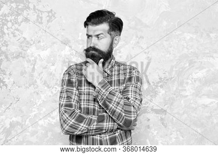 Unshaven Man Care His Look. Professional Hairdresser In Checkered Shirt. Brutal Bearded Man Grunge B