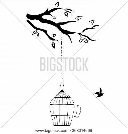 Bird Cage Hanging From Branch, Hand Draw, Vector Illustration