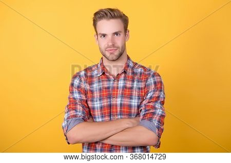 Perfectionist. Barbershop Concept. Attractive Sexy Guy Casual Style. Macho Man Yellow Background. Ma